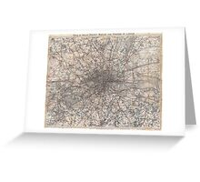 Vintage Map of London England (1900) 2 Greeting Card