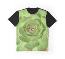 Cactus Green Succulent with Faux Gold Tips Graphic T-Shirt