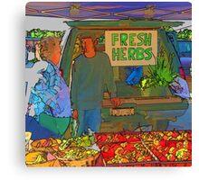RainbowConfetti Farmers Market Fresh Herbs Canvas Print