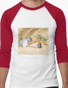 Mice rolling a cat by Beatrix Potter Men's Baseball ¾ T-Shirt