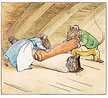 Mice rolling a cat by Beatrix Potter Photographic Print