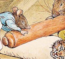 Mice rolling a cat by Beatrix Potter Sticker