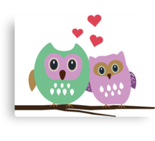 Owl couple Canvas Print