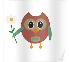 Coloured owl with a flower Poster