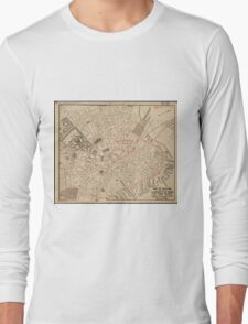 Vintage Map of Downtown Boston MA (1911) Long Sleeve T-Shirt