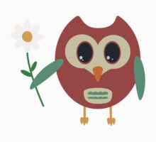 Coloured owl with a flower by ilovecotton