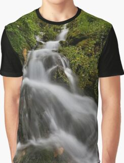 Water fall with moss and trees Graphic T-Shirt