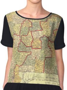 Vintage Map of Alabama (1911) Chiffon Top