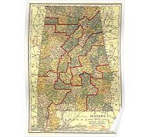 Vintage Map of Alabama (1911) Poster