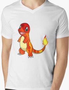 Pokemon Charmander Flame  Mens V-Neck T-Shirt