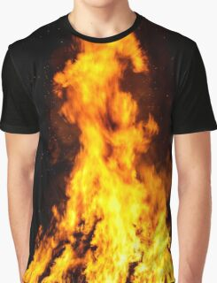 Wooden house roof in fire  on black background, dengerous concept Graphic T-Shirt