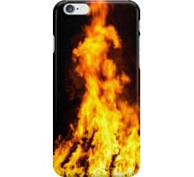 Wooden house roof in fire  on black background, dengerous concept iPhone Case/Skin