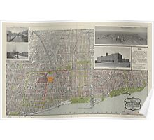 Vintage Map of Chicago (1912) Poster