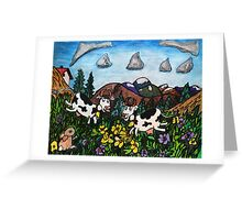 Running Cows Greeting Card
