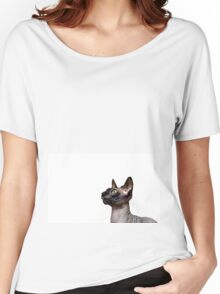 Beautiful sphynx cat with yellow eyes portrait on white background Women's Relaxed Fit T-Shirt