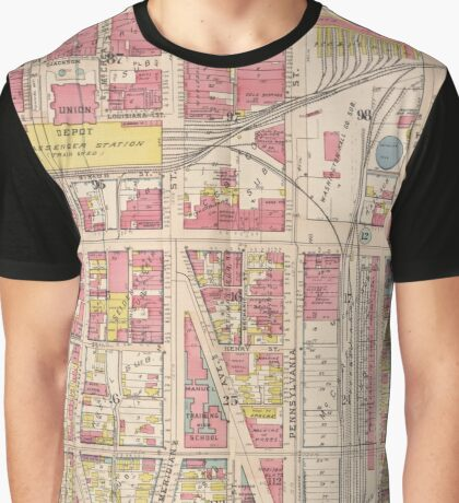 Vintage Map of Indianapolis Indiana (1916) Graphic T-Shirt