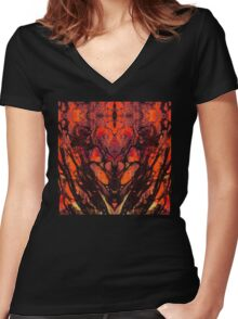 Red Abstract Art  - Heart Matters - Sharon Cummings Women's Fitted V-Neck T-Shirt