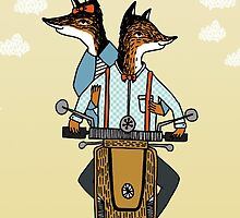 Happy Anniversary - Foxes Ride a Vespa by Paper Sparrow