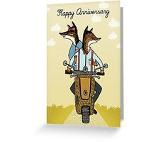 Happy Anniversary - Foxes Ride a Vespa Greeting Card