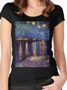 A Starry Night over the Rhone by Vincent van Gogh Women's Fitted Scoop T-Shirt