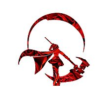 RWBY Ruby Rose Silhouette with Roses Photographic Print