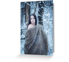 glamour portrait in the winter Greeting Card