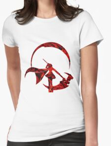 RWBY Ruby Rose Silhouette with Roses Womens Fitted T-Shirt