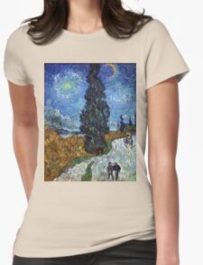 Country Road in Province by Vincent Van Gogh Womens Fitted T-Shirt