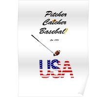 Pitcher Catcher Baseball USA Poster