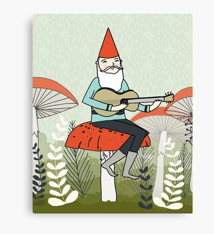 Gnome Plays Guitar by Paper Sparrow Canvas Print