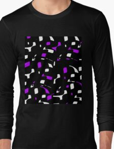 Simple black, purple and white design Long Sleeve T-Shirt