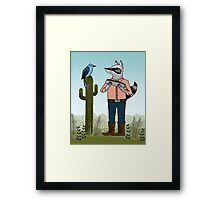 Raccoon Plays Harmonica by Paper Sparrow Framed Print