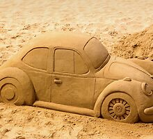 Volkswagen Beetle on Beach by Kawka