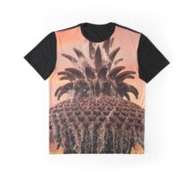 Pineapple Fountain Pink Squared Graphic T-Shirt