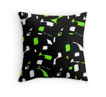 Simple black, green and white design Throw Pillow