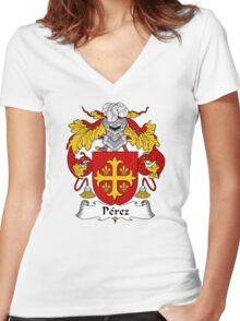 Perez Coat of Arms/Family Crest Women's Fitted V-Neck T-Shirt