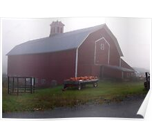Vermont Foggy Morning Down On The Farm Poster
