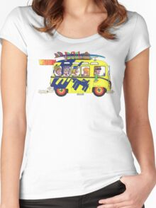 VW Camper. Surfs Up Dude. Women's Fitted Scoop T-Shirt