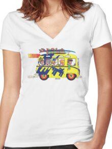 VW Camper. Surfs Up Dude. Women's Fitted V-Neck T-Shirt