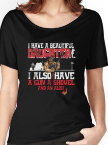 Hillbilly - I Have A Beautiful Daughter Black Distressed Variant Women's Relaxed Fit T-Shirt