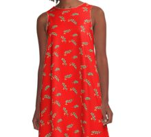 Little green leaves - Red A-Line Dress