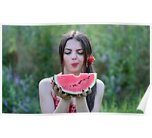 Pretty woman eating water-melon outdoor Poster