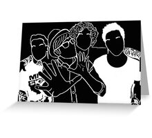 Fall Out Boy Tumblr Inspired Black and White Outline Greeting Card