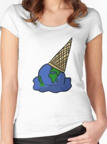Melting Ice Cream/Earth Women's Fitted Scoop T-Shirt