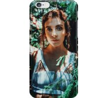 Young woman listening to autumn forest iPhone Case/Skin