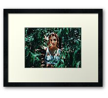 Young woman listening to autumn forest Framed Print