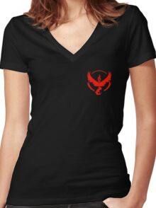 Pokemon Go | Team Valor | Black Background | Small | New! | High Quality! Women's Fitted V-Neck T-Shirt