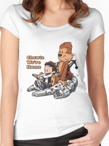 Chewie And Han Calvin And Hobbes Women's Fitted Scoop T-Shirt
