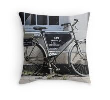 Vintage Bicycle with advertising sign for cafe. Throw Pillow