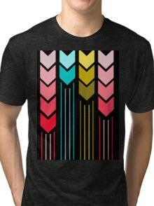 Modern Colorful Arrows Lines Pattern On Black Tri-blend T-Shirt
